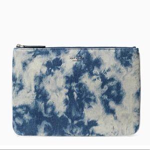 Kate ♠️ jackson tye-dye denim large zip pouch